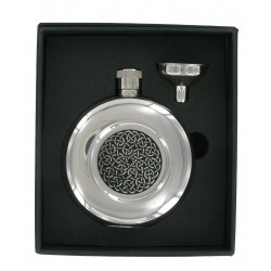 5oz Round Celtic Design Hip Flask with Funnel