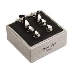 Penguin Cufflinks and Dress Shirt Studs Set By Onyx-Art London