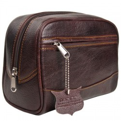 Brown Leather Wash Bag