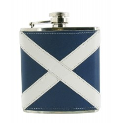 Scottish Flag Leather Hip Flask - 6oz Stainless Flask