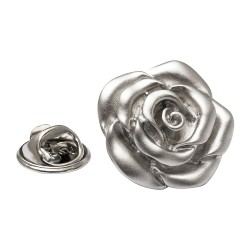 Silver Rose Lapel Pin - Rose Lapel Badge - By Onyx-Art London