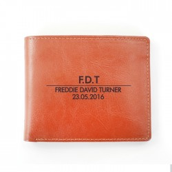 Tan Moustache Leather Wallet - Personalise With Initials