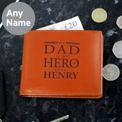 My Dad is My Hero Tan Leather Wallet - Personalise With Name