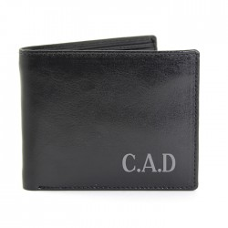 Initials Black Leather Wallet - Personalise With Initials