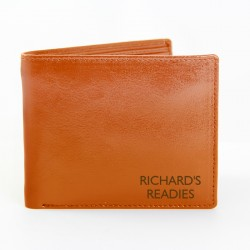 Personalised Tan Leather Wallet - Personalise With Message