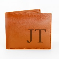 Big Initials -Tan Leather Wallet - Personalised