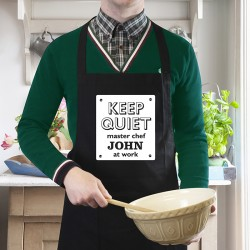 Keep Quiet Black Apron - Personalised