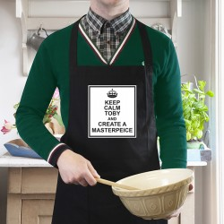 Keep Calm Black Apron Personalised Apron