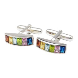 Rainbow Crystals Sterling Silver Cufflinks