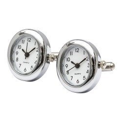 Working Watch Cufflinks - Brushed Rhodium Oval Edition