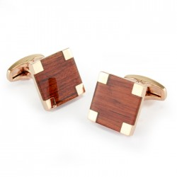 Wood and Rose Gold Cufflinks
