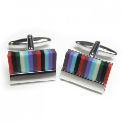 Designer Multi Colour Stripe Cufflinks