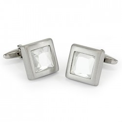 Brushed Rhodium and Crystal Cufflinks