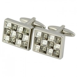 AC Grey Chrome Crystal Cufflinks