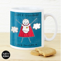 Purple Ronnie Super Hero Mug For Dad/Grandad- Personalised Mug