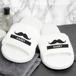 Moustache Velour Slippers - Personalised