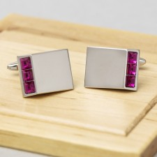 Crystal Silver Cufflinks