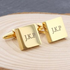 Engraved Gold Cufflinks