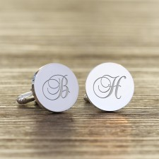 Engraved Silver Cufflinks